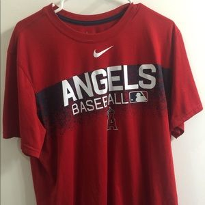 LA Angels Nike Red Authentic Team Issued Shirt